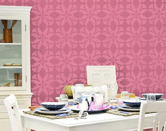 Modern Geometric Wall Stencil for Painting a DIY Wallpaper Look - Colorful Wall Painting for Girls Room or Nursery