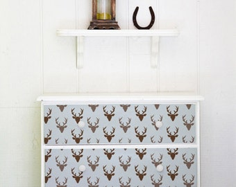Buck Forest Bonnie Christine Furniture Stencil - Deer Head Pattern to Paint onto Dresser Drawers or Table