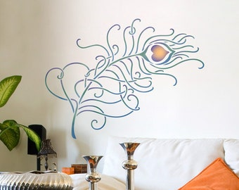 Large Resuable Wall Stencils - Peacock Feather Wall Art Motif Decal for Painting Decor