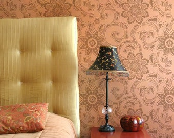 Wall Stencil - Custom Decorative Wall Painting - Japanese Flowers Wallpaper - Floral Pattern for Flooring or Furniture