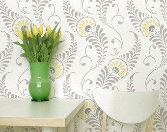 Bird Feathers or Leaves Wall Stencil Pattern - Classic Damask Wallpaper Design - Decorative Painting - Shabby Chic Farmhouse