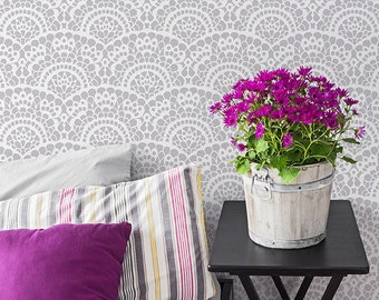 Large Lace Scallop Wall Stencil - Romantic Shabby Chic Farmhouse Vintage Wallpaper Pattern for Painting DIY Mural