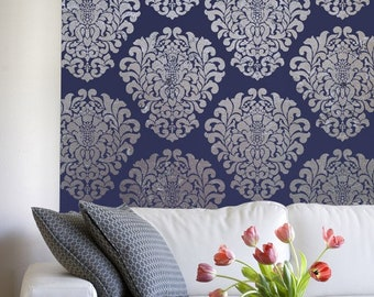 Large Damask Wall Stencil Pattern for Custom Decorating Projects - Classic European Vintage Damask Wallpaper Design
