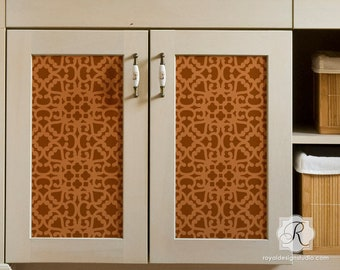 Modern Moroccan Lace Furniture Stencil for Painting Pattern on DIY Cabinet Doors, Dresser Drawers, or Reclaimed Table