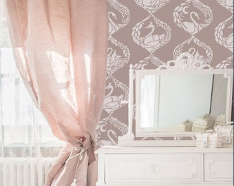 Cute Swan Wall Stencil for Painting a Wallpaper Design in Girls Room or Nursery