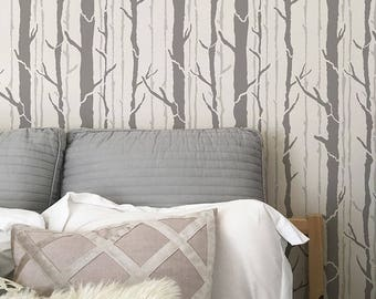 Tree Wall Stencil   Painting Forest Trees On Feature Wall In Bedroom Or  Nursery   Custom Wallpaper Mural Design