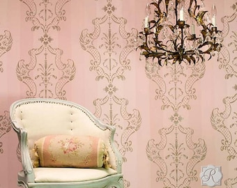 Italian Damask Wall Stencil - Classic Large Wallpaper Design - European Wall Mural Painting