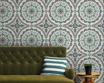 Mandala Tile Stencil for Painting Circle Design on Wall Decor and Custom Flooring - Size Small