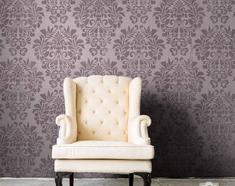 Classic Fabric Damask Pattern Wall Stencil - European Vintage Wallpaper Look with DIY Reusable Stencil Art