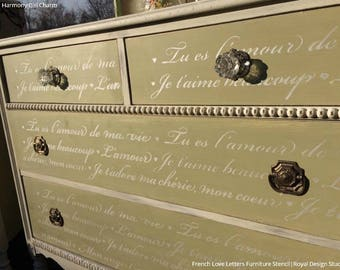 French Love Letters Furniture Stencil   Paint Dresser With Script, Vintage  Furniture Quote, Shabby Chic Typography