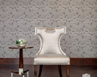Entzuckend Spitze Wand Schablone Für Die Malerei Eine Vintage, Victorian, Bauernhaus  Damast Tapete Look   Klein