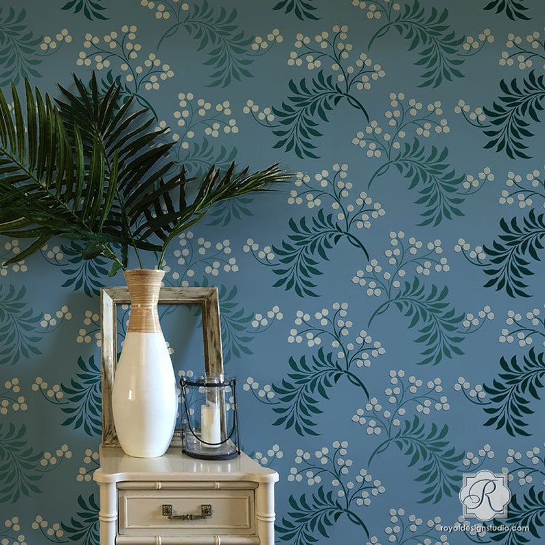 Large Wall Stencil Pattern - Flower Berry Fruit Plants Vine Design for  Painting a Custom DIY Wall Mural