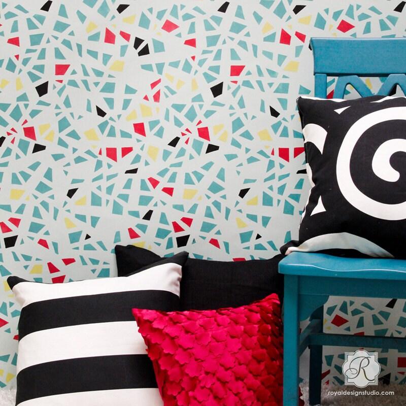 verre bris motif mural pochoir pour peinture murale. Black Bedroom Furniture Sets. Home Design Ideas