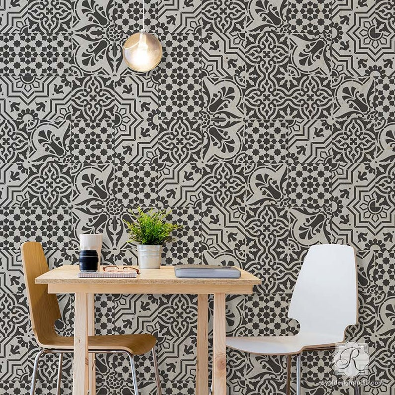 Spanish Tile Stencils Set Painted Old World European Tiles Farmhouse Kitchen Backsplash Bathroom Floor Boho Wall Art