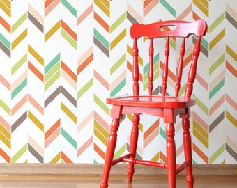 Colorful Modern Herringbone Wall Stencil - Paint Your Own Custom Wallpaper Look for Nursery Decor, Kids Room, Bedroom Wall Mural