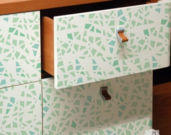 Shattered Design for Painting Custom Furniture Stencil for DIY Projects, Dresser Drawers, and Table