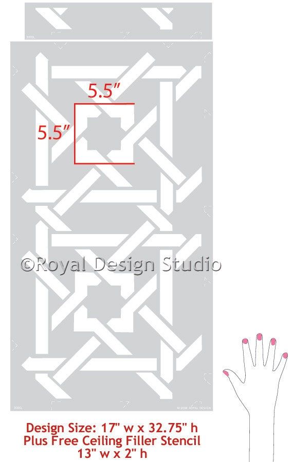 Camel Bone Weave Resuable Stencil for Painting Accent Wall or Ceiling Design Floor Pattern Geometric Moroccan Boho Style Decor