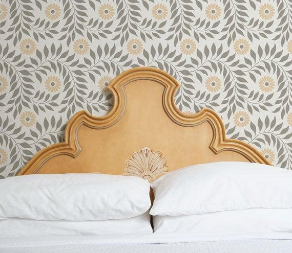 Böhmische Blumen Wand Schablone Für Die Malerei Indisch | Etsy