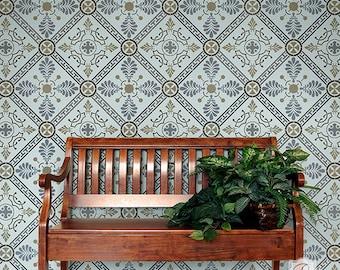 Large Wall Stencil or Floor Tile Stencil for DIY Painting - Greek European Tiles - Wallpaper or Tiled Flooring