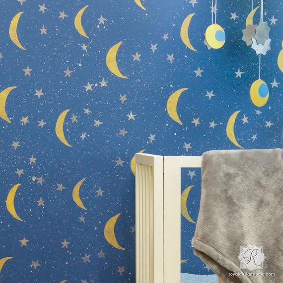 Nacht Himmel Sterne Und Mond Wand Schablonenmuster Ein Etsy