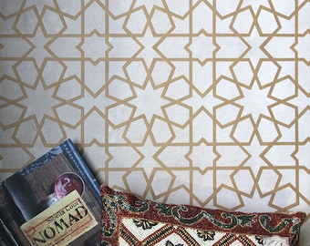 Geometric Wall Stencil or Floor Tile Stencil - Painting Flooring or Wallpaper Look with Moroccan or Modern Pattern