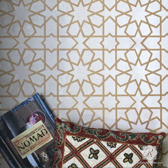 Geometric Wall Stencil Or Floor Tile Stencil Painting Etsy