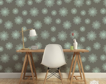 Large Stars Sun Wall Stencil Pattern for Painting Focal Wall Mural Design or Modern Decal Look