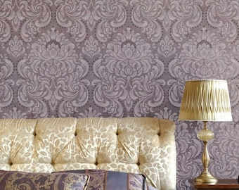 Large Damask Wallpaper Wall Stencil - Old World European Wall Pattern - Classic Romantic Bedroom Wall Mural