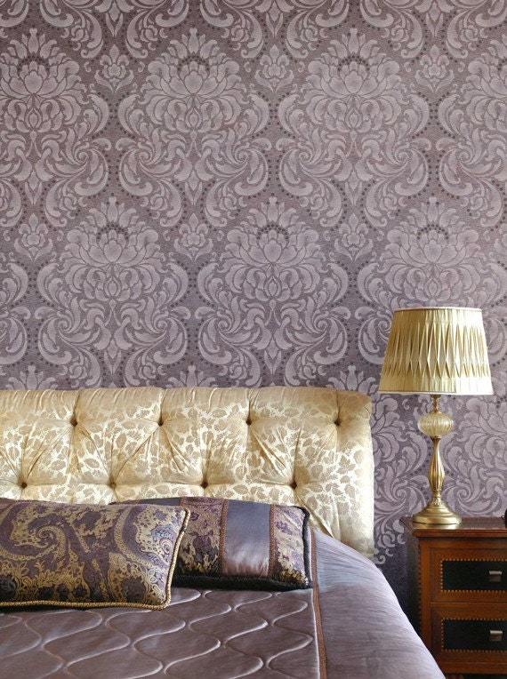 Large Damask Wallpaper Wall Stencil Old World European Wall Pattern Classic Romantic Bedroom Wall Mural