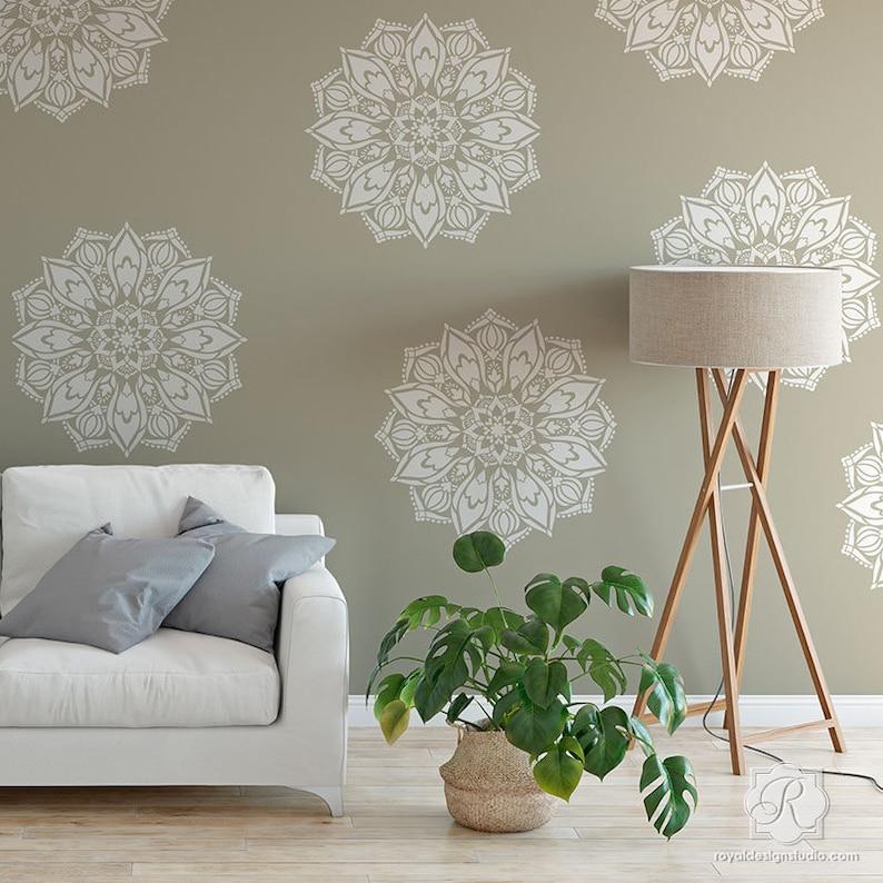 Mandala Wall Painting Stencil For Boho Chic Bedroom Decorating Etsy