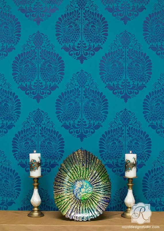 Indian Wall Art Peacock Bird Wall Stencil Bohemian Boho Chic Eastern Style Decor Large Colorful Pattern Designer Wallpaper