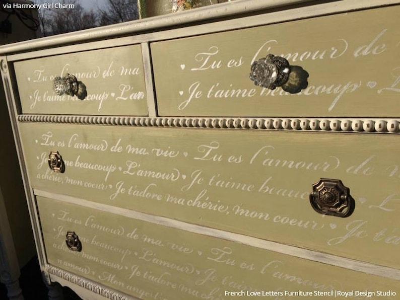 Französische Liebe Briefe Möbel Schablone Farbe Kommode Mit Etsy