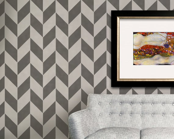 Large Classic Herringbone Pattern Wall Stencil Paint Diy Etsy