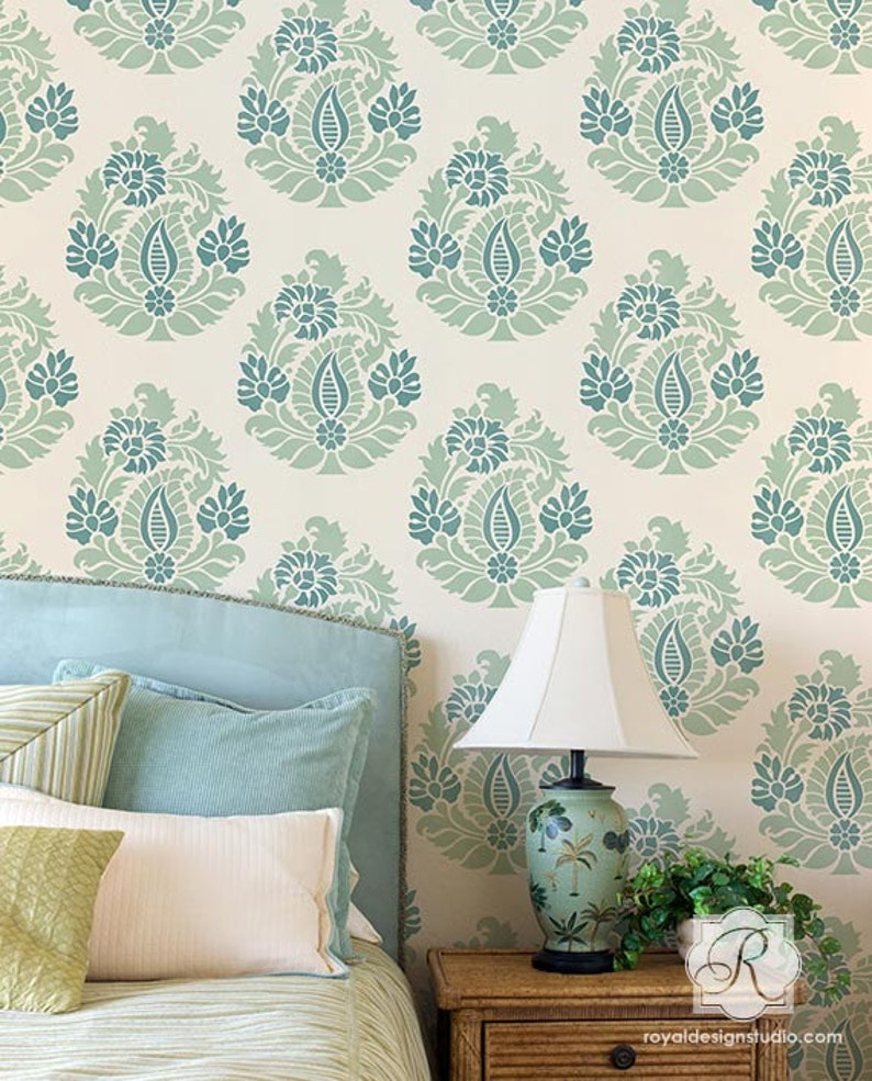 Paisley Damask Wall Stencil for Painting DIY Wall Art or Fabric with  Indian, Boho, Shabby Chic Farmhouse Style