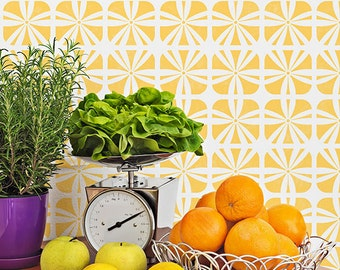 Modern Geometric Furniture Stencil for DIY Decorating and Painting Table Tops, Cabinets, Dresser Drawers in Nursery or Kitchen