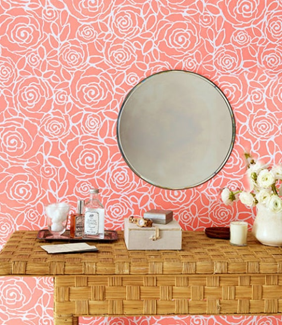 Modern Flower Wall Stencil Large Floral Wall Painting
