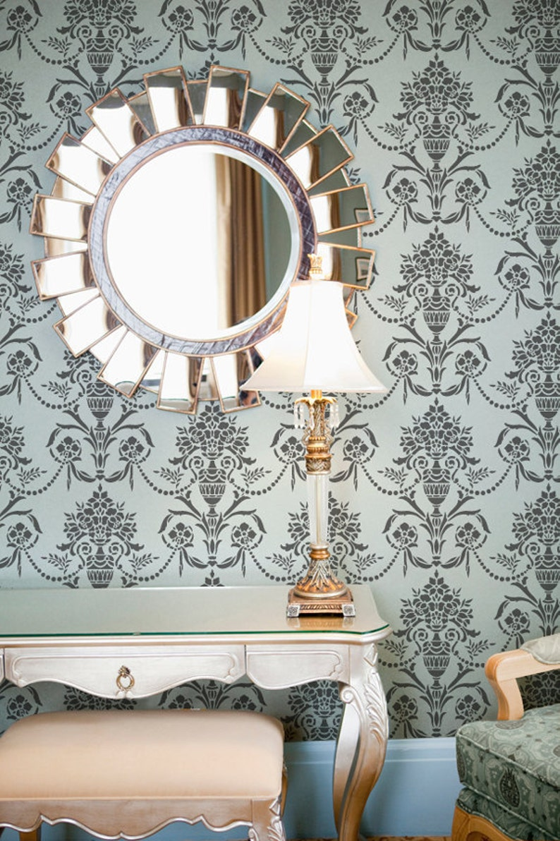 Victorian European Wall Art Mural in Dining Room or Living Room Classic Floral Damask Wallpaper Wall Stencil Vintage