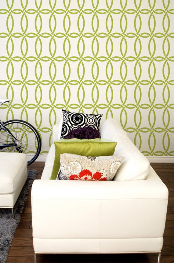 Large Modern Chain Link Wallpaper Wall Stencil Circle Shapes Etsy