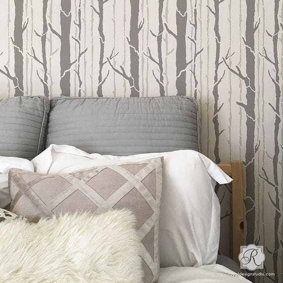 Baum Wand Schablone Malerei Wald Bäume Auf Wand Im | Etsy