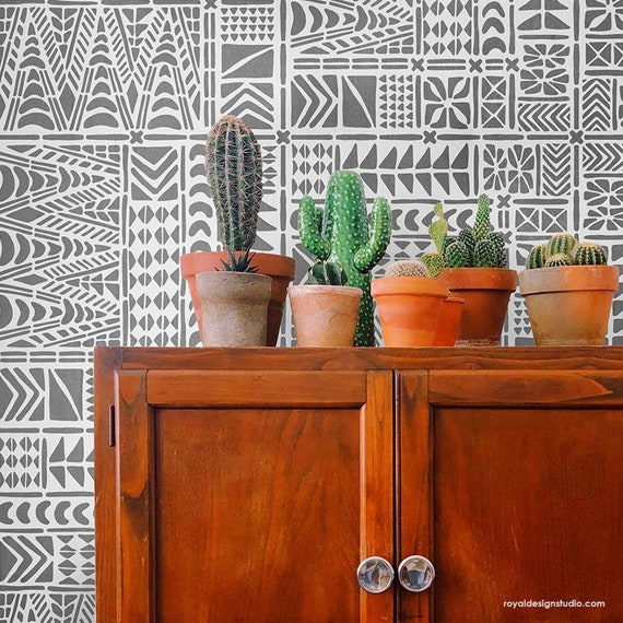 Moana Tile Wall Stencil Tribal Wallpaper Pattern African Style Diy Wall Decor Geometric Modern Stencil For Painting Walls Or Mural