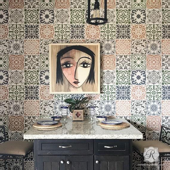 Patchwork Mix Match Tile Stencils Set For Painting Diy Floor Etsy