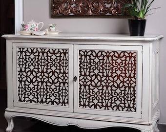 Trellis Pattern Furniture Stencils - Painting Custom Reclaimed Furniture Cabinets with DIY Grille Fretwork Lattice Design