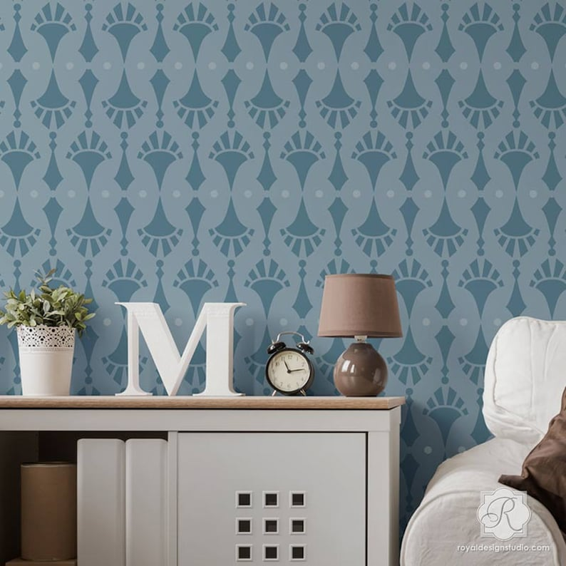 Vintage Retro Wall Border Stencil for Painting Custom Wallpaper Pattern or Wall Decal Look