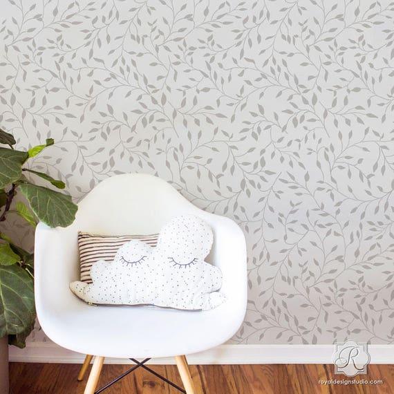 Wisteria Flower Vine Wall Stencil Designer Bonnie Christine Custom Wallpaper Design For Wall Painting