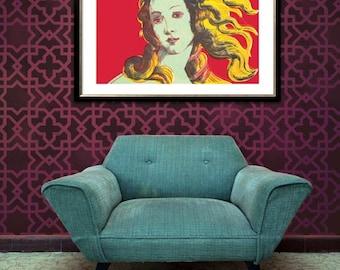 Large Geometric Modern Wall Stencil - Painting Floor or Designer Wallpaper Pattern - Moroccan Lattice Mural Design