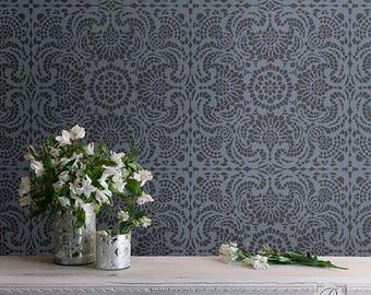 Vintage Lace Shabby Chic Tile Wall Stencil - DIY Romantic Bedroom & Nursery Wall Decor