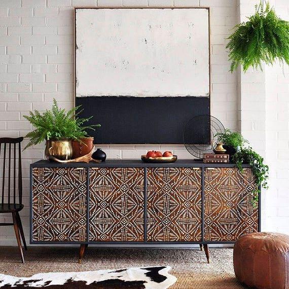 Tribal Batik Pattern Painted Furniture Stencil African   Etsy