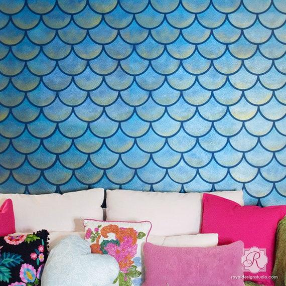 Scallops Design Wall Stencil Pattern Large DIY