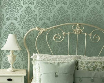 Large Wall Stencil - Vintage Damask Wallpaper Pattern - Old World European Shabby Chic Farmhouse Wall Art Decor