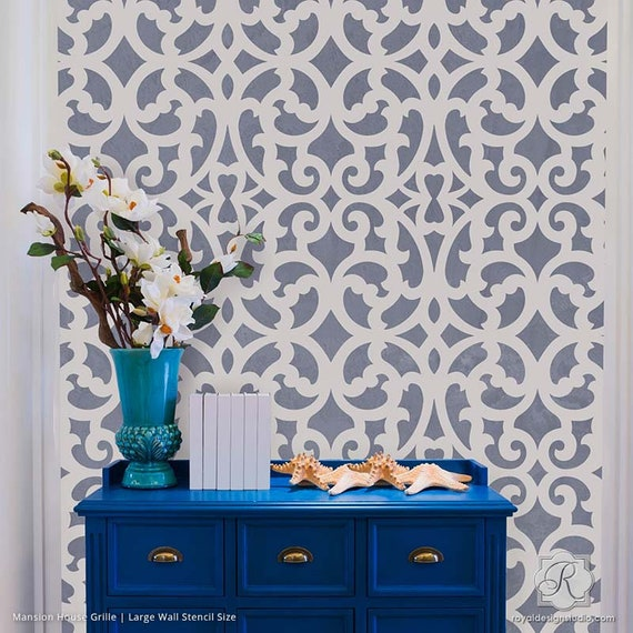 Large Trellis Pattern Wall Stencil Designer Wallpaper Design Etsy
